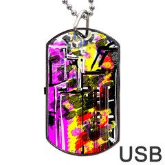 Abstract City View Dog Tag Usb Flash (one Side) by theunrulyartist