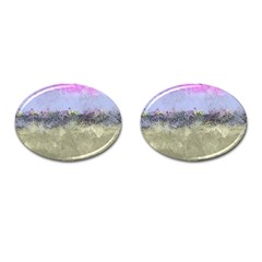 Abstract Garden In Pastel Colors Cufflinks (oval) by theunrulyartist