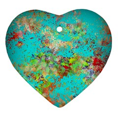 Abstract Garden In Aqua Ornament (heart)  by theunrulyartist