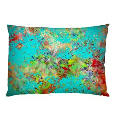 Abstract Garden in Aqua Pillow Cases (Two Sides)
