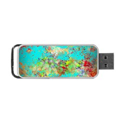 Abstract Garden In Aqua Portable Usb Flash (two Sides) by theunrulyartist