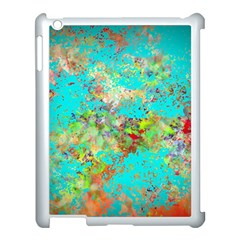 Abstract Garden In Aqua Apple Ipad 3/4 Case (white) by theunrulyartist