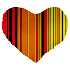 Hot Stripes Fire Large 19  Premium Heart Shape Cushions by ImpressiveMoments