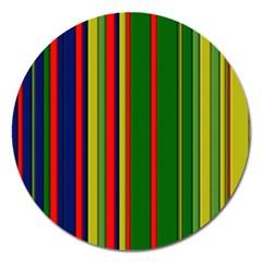 Hot Stripes Grenn Blue Magnet 5  (Round) by ImpressiveMoments