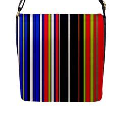 Hot Stripes Red Blue Flap Messenger Bag (l)  by ImpressiveMoments