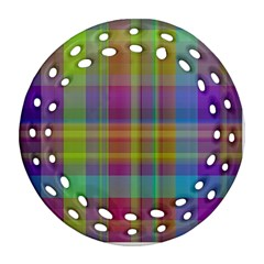 Plaid, Cool Round Filigree Ornament (2side) by ImpressiveMoments
