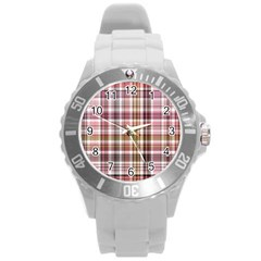 Plaid, Candy Round Plastic Sport Watch (l) by ImpressiveMoments