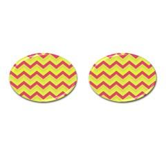 Chevron Yellow Pink Cufflinks (oval)