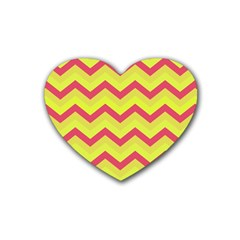 Chevron Yellow Pink Heart Coaster (4 Pack)  by ImpressiveMoments