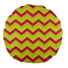 Chevron Yellow Pink Large 18  Premium Flano Round Cushions by ImpressiveMoments