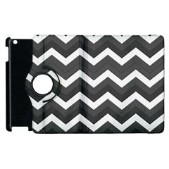 Chevron Dark Gray Apple Ipad 2 Flip 360 Case by ImpressiveMoments