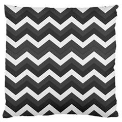 Chevron Dark Gray Standard Flano Cushion Cases (One Side)  by ImpressiveMoments