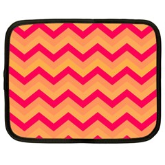 Chevron Peach Netbook Case (xxl)  by ImpressiveMoments