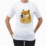 Dogecoin Women s T-Shirt (White) (Two Sided)