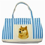 Dogecoin Striped Blue Tote Bag