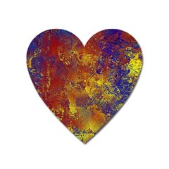 Abstract In Gold, Blue, And Red Heart Magnet by theunrulyartist