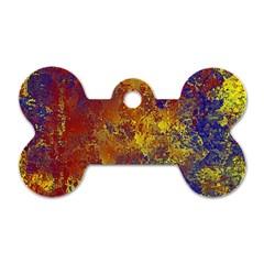 Abstract In Gold, Blue, And Red Dog Tag Bone (two Sides) by theunrulyartist