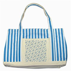 Sweet Doodle Pattern Blue Striped Blue Tote Bag  by ImpressiveMoments