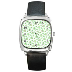 Sweet Doodle Pattern Green Square Metal Watches by ImpressiveMoments