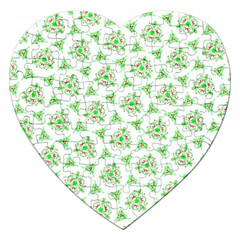 Sweet Doodle Pattern Green Jigsaw Puzzle (heart) by ImpressiveMoments