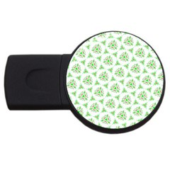 Sweet Doodle Pattern Green Usb Flash Drive Round (4 Gb)  by ImpressiveMoments