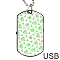 Sweet Doodle Pattern Green Dog Tag USB Flash (Two Sides)  by ImpressiveMoments
