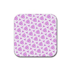 Sweet Doodle Pattern Pink Rubber Coaster (square)  by ImpressiveMoments