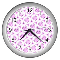 Sweet Doodle Pattern Pink Wall Clocks (silver)  by ImpressiveMoments