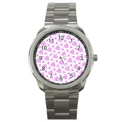 Sweet Doodle Pattern Pink Sport Metal Watches by ImpressiveMoments