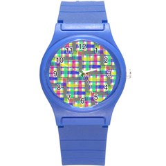 Doodle Pattern Freedom  Round Plastic Sport Watch (s) by ImpressiveMoments