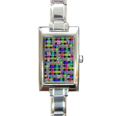 Doodle Pattern Freedom Black Rectangle Italian Charm Watches by ImpressiveMoments