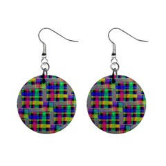 Doodle Pattern Freedom Black Mini Button Earrings by ImpressiveMoments