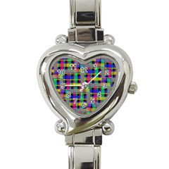 Doodle Pattern Freedom Black Heart Italian Charm Watch by ImpressiveMoments