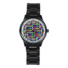 Doodle Pattern Freedom Black Stainless Steel Round Watches by ImpressiveMoments