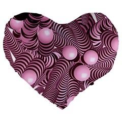 Doodle Fun Pink Large 19  Premium Flano Heart Shape Cushions