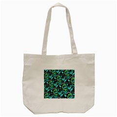 Bright Aqua, Black, And Green Design Tote Bag (cream)  by theunrulyartist