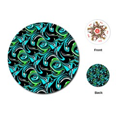 Bright Aqua, Black, And Green Design Playing Cards (round)  by theunrulyartist