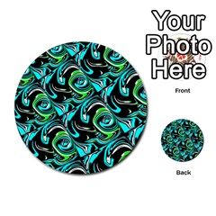 Bright Aqua, Black, And Green Design Multi Purpose Cards (round)  by theunrulyartist