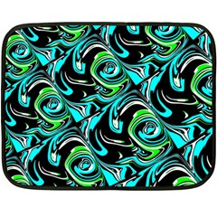 Bright Aqua, Black, And Green Design Double Sided Fleece Blanket (mini)  by theunrulyartist