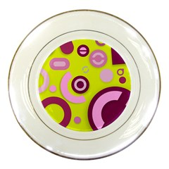 Florescent Yellow Pink Abstract  Porcelain Plates by OCDesignss