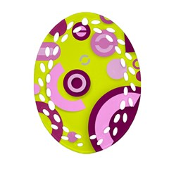 Florescent Yellow Pink Abstract  Ornament (Oval Filigree)