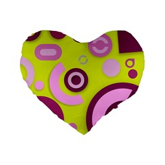 Florescent Yellow Pink Abstract  Standard 16  Premium Flano Heart Shape Cushions by OCDesignss