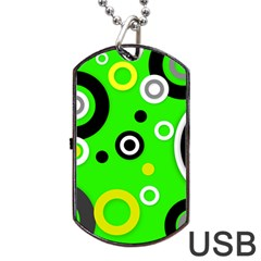 Florescent Green Yellow Abstract  Dog Tag Usb Flash (two Sides)  by OCDesignss