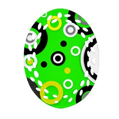 Florescent Green Yellow Abstract  Oval Filigree Ornament (2 Side)
