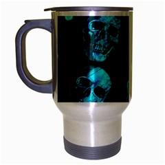 Skulls Blue Travel Mug (silver Gray) by ImpressiveMoments