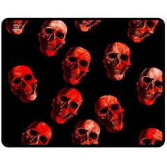 Skulls Red Double Sided Fleece Blanket (Medium)  by ImpressiveMoments