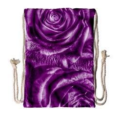 Gorgeous Roses,purple  Drawstring Bag (Large) by MoreColorsinLife