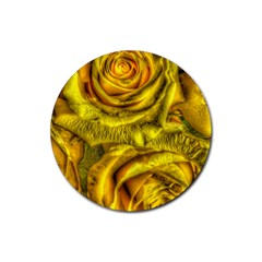Gorgeous Roses, Yellow  Rubber Coaster (round)  by MoreColorsinLife