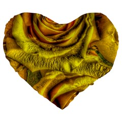 Gorgeous Roses, Yellow  Large 19  Premium Flano Heart Shape Cushions by MoreColorsinLife