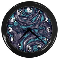 Gorgeous Roses, Aqua Wall Clocks (black) by MoreColorsinLife